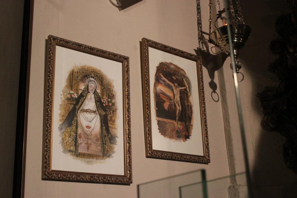 Pinturas originales de la Virgen y el Cristo